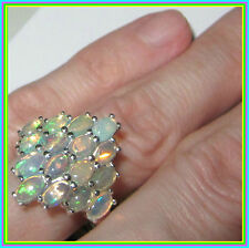 Genuine Ethiopian Welo Opal 2.55 cts Cluster Ring  Sterling Silver 925 size 7 9