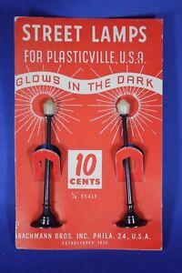 Plasticville - O/S LP-9 - Street Lamps BLACK (2) - Original Card - Excellent++++