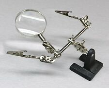 HELPING HAND MAGNIFIER 4X with 2 ALLIGATOR CLAMPS SOLDERING KIT 3rd HAND JEWELRY