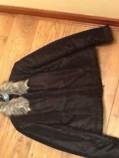 Ladies Quiz Black Fur Collar Winter Coat size Large 12-14