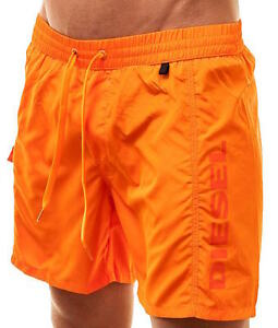 Diesel Mens Shorts Swim Long Beach Shorts Orange Markred Logo Size Small Sale
