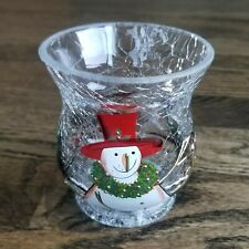 Used Yankee Candle Winter Votive Tea Light Holder Crackle Glass ~Snowman Birds