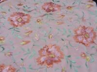 ANTIQUE SILK PIANO SHAWL  EMBROIDERED  PINK  FLOWERS- STUNNING