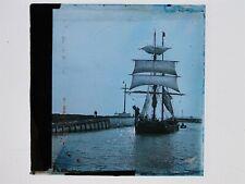 Sailing Ship Enters Harbour - Glass Lantern Slide