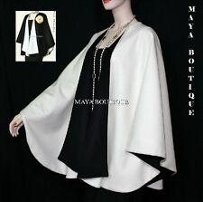Cashmere Reversible Cape Ruana Wrap Coat Ivory & Black Maya Matazaro USA Made