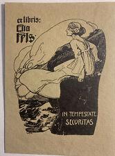 Ferdinand GÖTZ Woman Sea Cliff exlibris Ella Fels German Jugendstil Bookplate