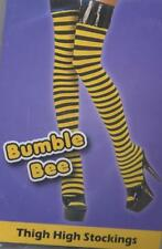 Striped Stockings Yellow & Black Bee Ladies Sexy Fancy Dress Stockings PVC Welt
