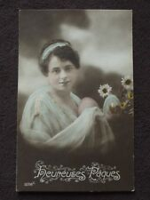 BEAUTIFUL WOMAN HOLDING EASTER EGGS, COLOR TINTED POSTCARD - HEUREUSES PAQUES