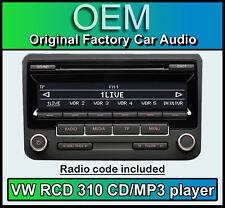 VW RCD 310 CD MP3 Player, Scirocco Stereo Kopfstück, im Lieferumfang Radio Code