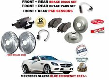 FOR MERCEDES SLK200 2011-2016 FRONT + REAR BRAKE DISCS SET + PADS + SENSORS KIT