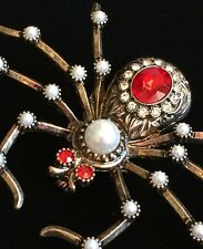 """GOLD PEARL RED VENOMOUS BROWN RECLUSE BLACK WIDOW SPIDER PIN BROOCH JEWELRY 3"""""""