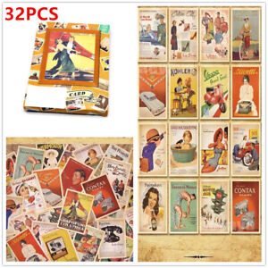 Pack of 32 Mixed Vintage Postcards Retro Advertising Movie Travel Post Cards UK