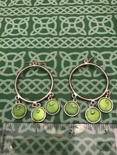 Green Circle Rhinestone Dangle Hoop Earring Pair FREE SHIPPING