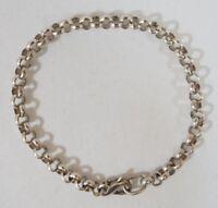 "Sterling Silver Rolo Link Chain Bracelet w/Lobster Claw Clasp 7 3/8"" L x 3mm W"
