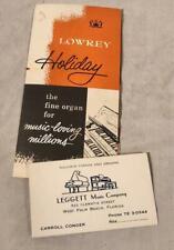 Vintage 1957 Lowrey Holiday Organ Brochure & Business Card