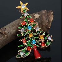 New Enamel Rhinestone Crystal Christmas Tree Brooch Pin Charm Badge Broach Gifts
