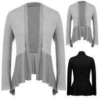 Women Casual Open Front Long Sleeve Solid Asymmetrical Draped Cardigan RCAI