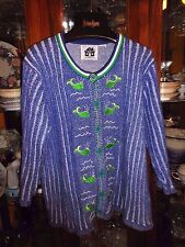 "Storybook Knits FAB Sweater L XL 50"" ch Blue Whales Nautical Beach Cotton MINT"