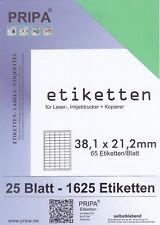 1625 étiquettes 38x21 mm = 25 feuilles vert auto-adhésif Pripa autocollant en