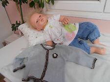 1hauts +gilet+ pantalon jeans  pour  bébé 3 mois ou poupée reborn,baigneur 55cm