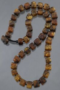 Genuine BALTIC AMBER Cube Rough Beads Knotted UNISEX Necklace 44.2g 201105-3