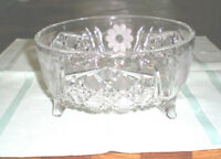 Vintage CUT CRYSTAL FOOTED BOWL with Flowers