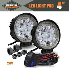 4'' 27W LED Light Pods Round Spot Driving For Polaris Cadillac RWD Blazer ATV