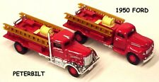 Golden Wheel 1:87 scale set of 2 Fire Trucks with ladders 1950 Ford & Peterbilt