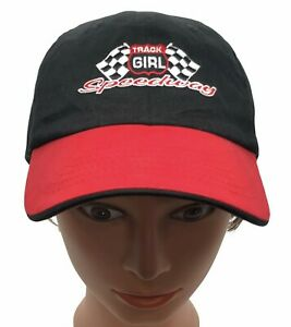 Nascar Speedway Track Girl Cap Hat Jerry Leigh Black Red Racing Flags