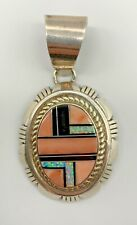 Native American Zuni Sterling Large Pendant Coral Onyx Lab Opal Inlay Signed Ll