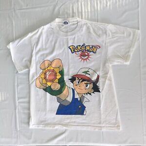 Vintage 1999 Pokémon T-Shirt Men's Small Pikachu Ash Ketchum Anime Nintendo 90s