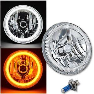 "7"" Switchback White LED DRL / Amber Turn Signal Angel Eye Halo H4 60w Headlight"