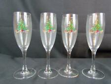 Set of 4 Tienshan Holiday Hostess Christmas Tree Fluted Champagne