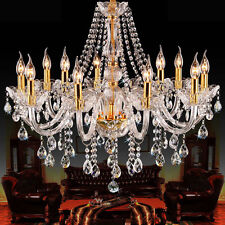 CLEAR GOLDEN K9 Crystal Chandelier 6, 8, 10, 15 Lights Candle Arms Pendant Lamp
