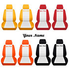 2 Front Velvet Bucket Seat Covers With Your Name 22 Color Options White Insert