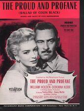 The Proud and Profane 1956 William Holden Deborah Kerr Sheet Music