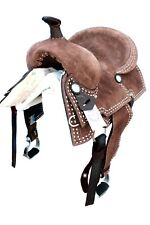 """""""THSL"""" WESTERN LEATHER PONY RANCH SADDLE BRN ROUGHOUT- HARD SEAT 13"""" (WLP_1141)"""