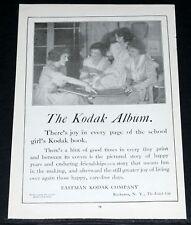 1919 OLD MAGAZINE PRINT AD, KODAK, JOY OF THE SCHOOL GIRL'S KODAK PHOTO ALBUM!