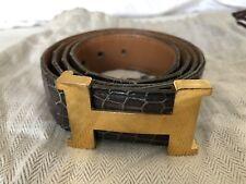 Hermes Crocodile Leather Gold Plated H Constance Belt Bordeaux Men 90