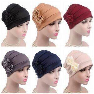 Women Elegant Caps Flower Beanies Soft Hats Turban Hair Cover Chemo Caps Hijab