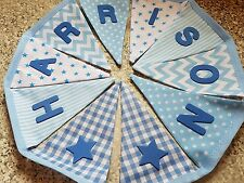 PERSONALISED BUNTING - BLUE MIX - BOYS -ANY NAME OR WORD - £1 PER FLAG, FREE P&P