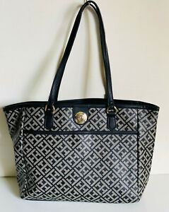 NEW! TOMMY HILFIGER BLACK GRAY MEDIUM SHOPPER SATCHEL TOTE BAG PURSE $108 SALE