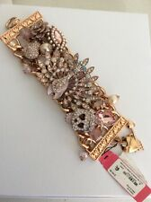 "$145Betsey Johnson ""Pinktina"" Peacock & Skull STATEMENT Toggle Bracelet AB 506"