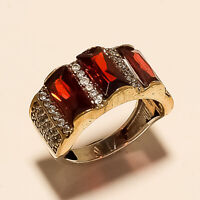 Natural Mexican Red Apatite Ring 925 Sterling Silver Turkish Fine Jewelry Gifts