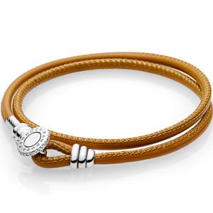 PANDORA Genuine Moments Leather Double Wrap Bracelet Size: 38cm - GoldenTan