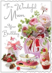 Mum LARGER Birthday Card Flowery Card With A Verse Luxury Card Made In UK JJ
