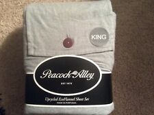 Peacock Alley Eco Flannel King Sheet Set Upcycled, Gray, New