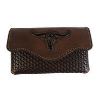 Western Phone Pouch Genuine Leather Phone Holster Case Belt Loop Longhorn