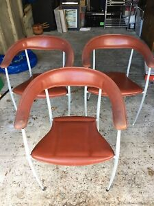 Vintage Arper Italian leather chairs