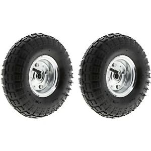"2 x 10"" Pneumatic Sack Truck Wheelbarrow Tyres Trolley Wheel Cart Tyre Wheels"